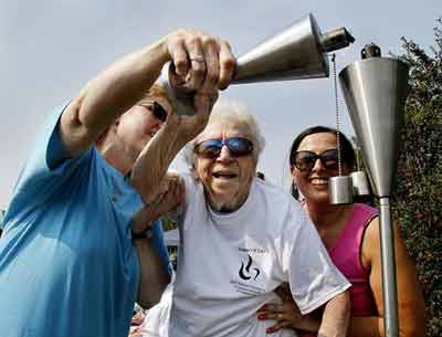 Lighting the Torch at Senior Olympics