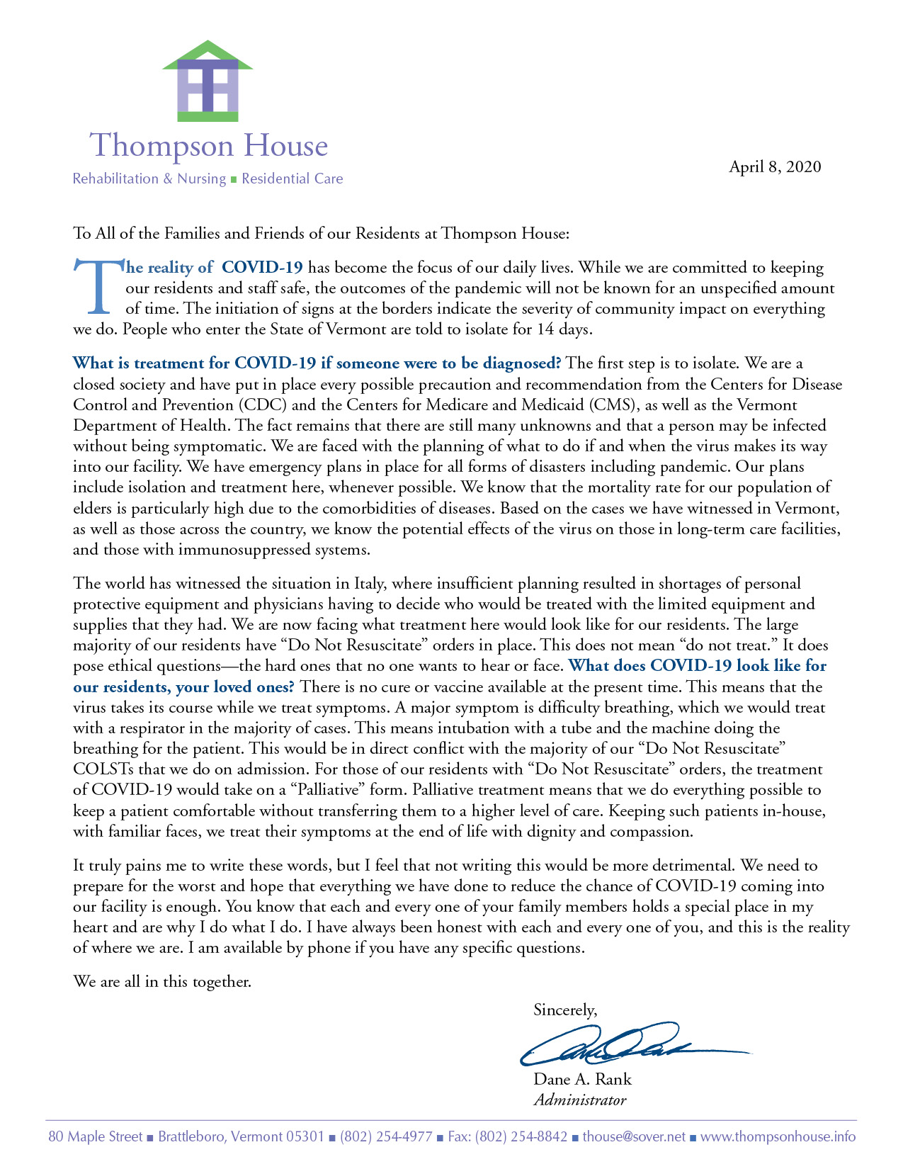 Letter to Thompson House Friends & Family
