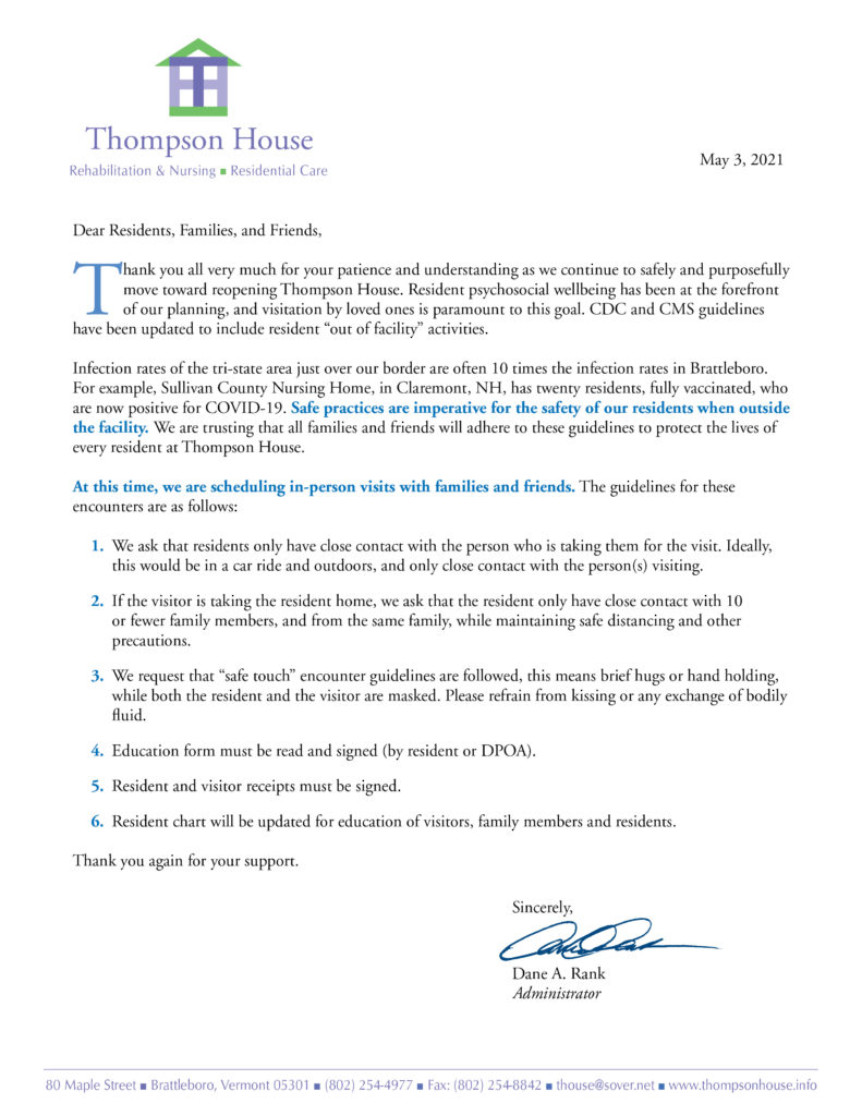 A letter to family and friends of Thompson House from our administrator